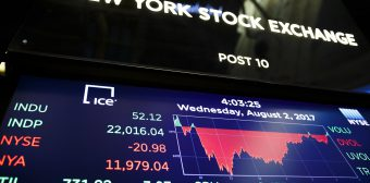 Dow Closes Above 22,000 at New York Stock Exchange